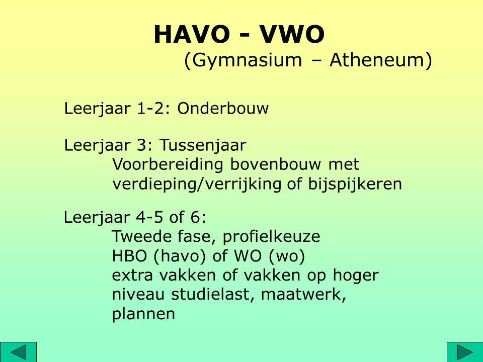 HAVO - VWO (Gymnasium – Atheneum) Leerjaar 1-2: Onderbouw