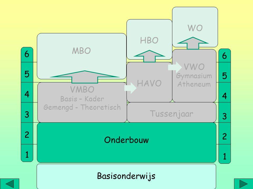 WO HBO MBO 6 6 VWO 5 5 4 HAVO 4 3 3 VMBO 2 2 1 1 Tussenjaar Onderbouw