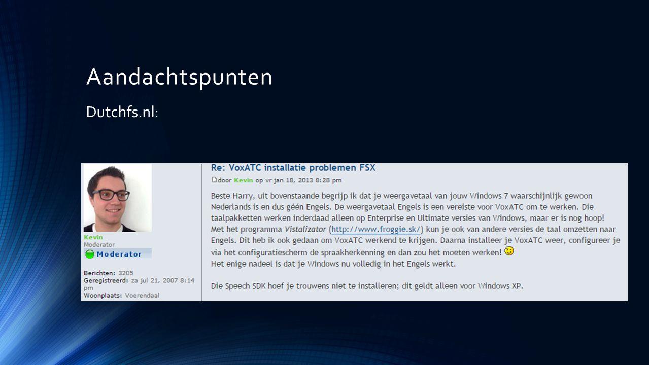 Aandachtspunten Dutchfs.nl: