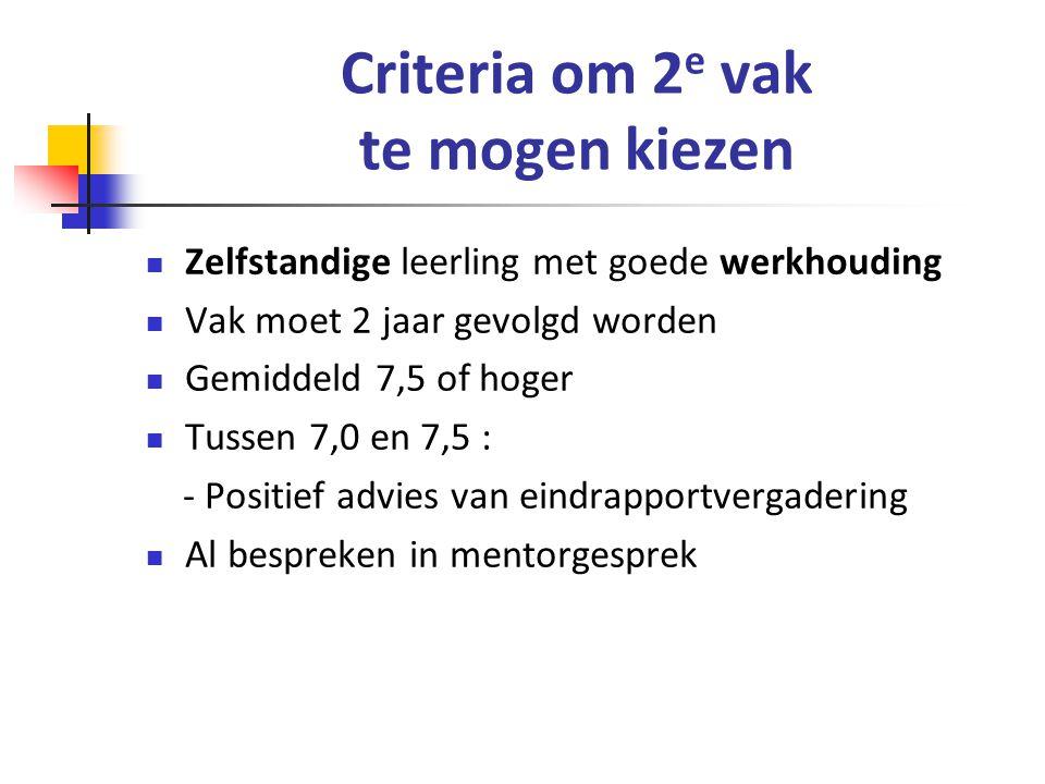 Criteria om 2e vak te mogen kiezen