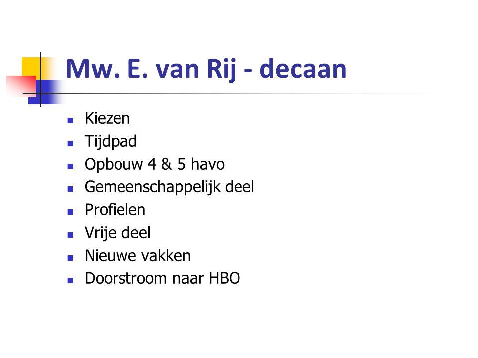 Mw. E. van Rij - decaan Kiezen Tijdpad Opbouw 4 & 5 havo