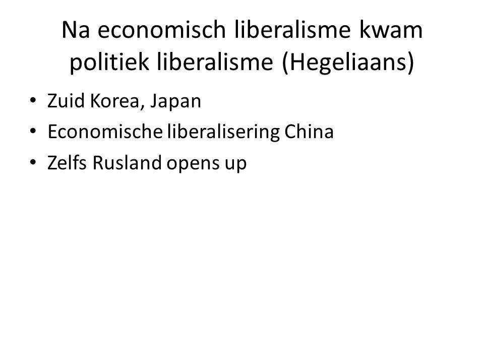 Na economisch liberalisme kwam politiek liberalisme (Hegeliaans)
