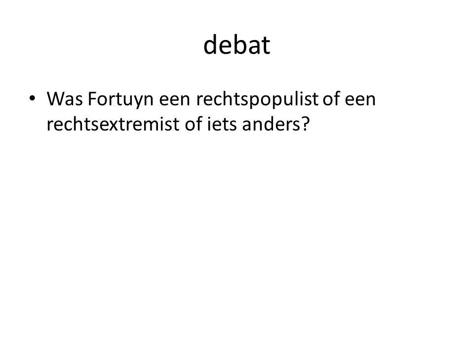 debat Was Fortuyn een rechtspopulist of een rechtsextremist of iets anders