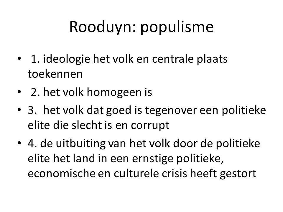 Rooduyn: populisme 1. ideologie het volk en centrale plaats toekennen