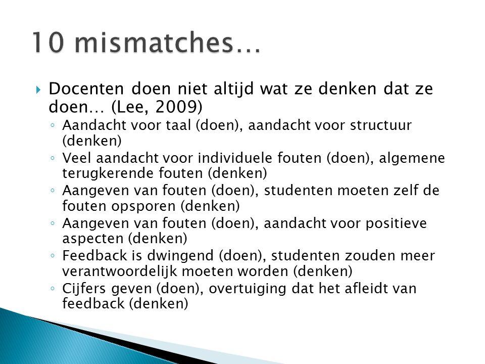 10 mismatches… Docenten doen niet altijd wat ze denken dat ze doen… (Lee, 2009) Aandacht voor taal (doen), aandacht voor structuur (denken)