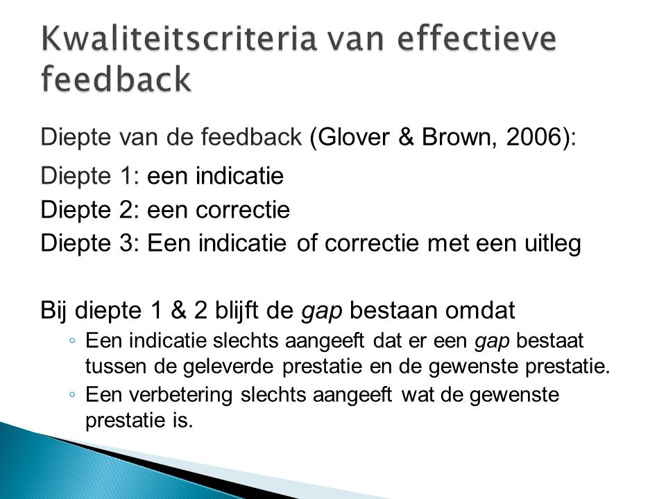 Kwaliteitscriteria van effectieve feedback