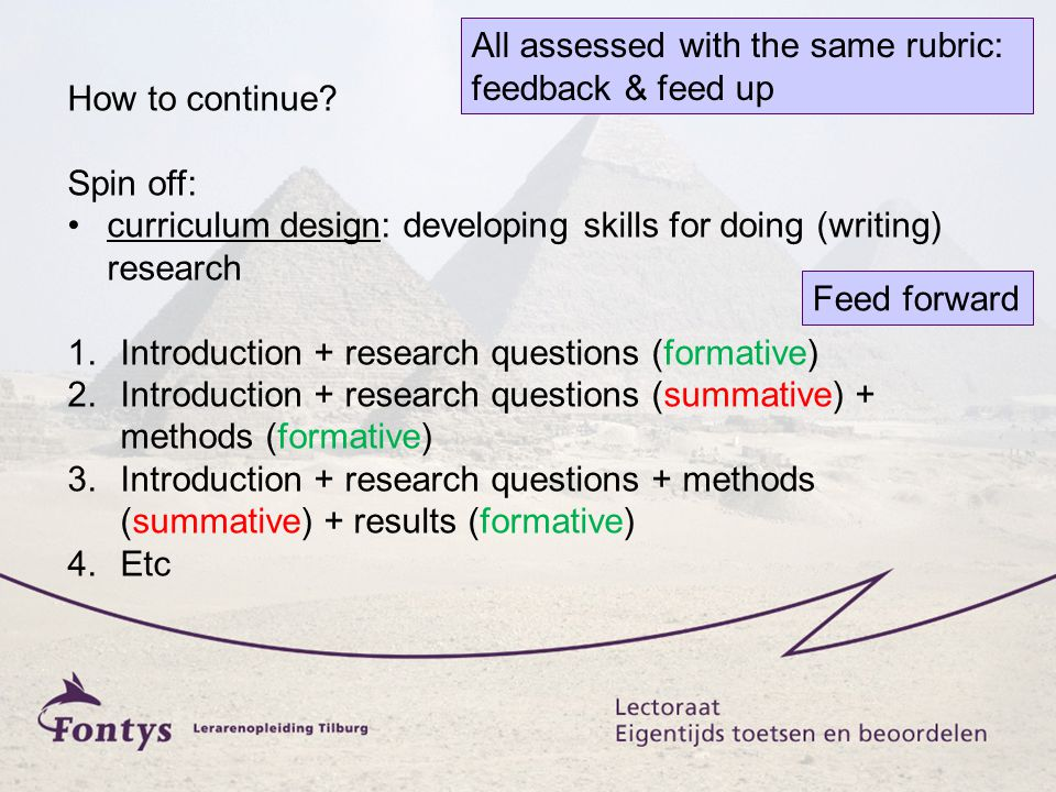 All assessed with the same rubric: feedback & feed up