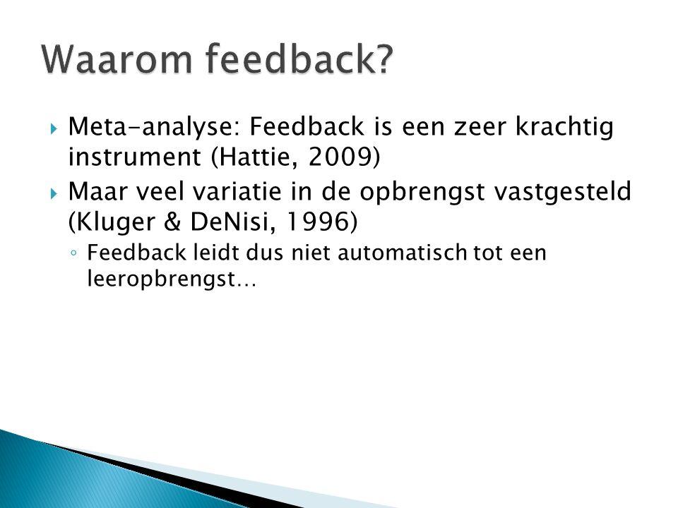 Waarom feedback Meta-analyse: Feedback is een zeer krachtig instrument (Hattie, 2009)
