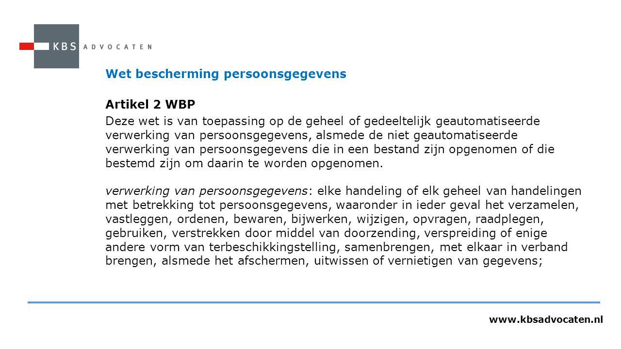 Wet bescherming persoonsgegevens Artikel 2 WBP