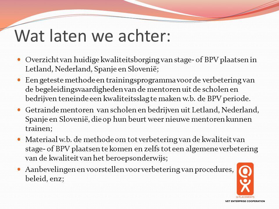 Wat laten we achter: Overzicht van huidige kwaliteitsborging van stage- of BPV plaatsen in Letland, Nederland, Spanje en Slovenië;