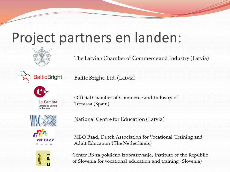 Project partners en landen: