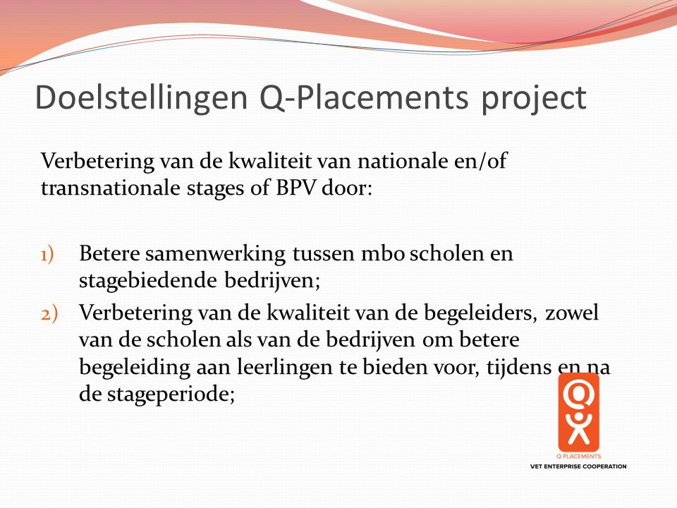 Doelstellingen Q-Placements project