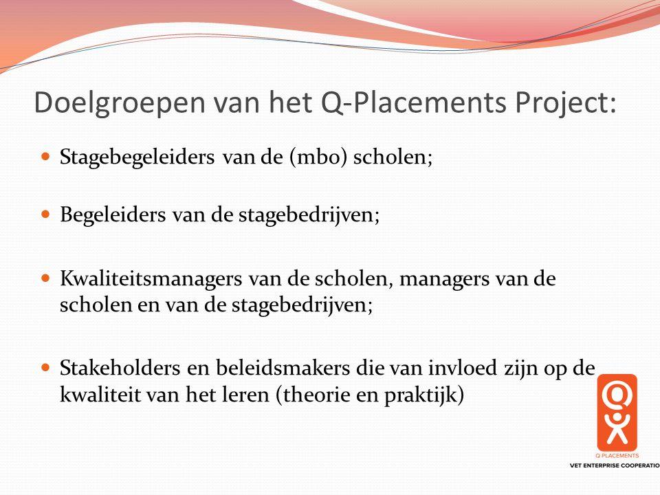 Doelgroepen van het Q-Placements Project: