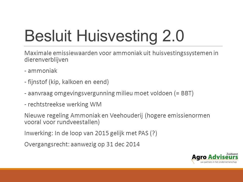 Besluit Huisvesting 2.0 Maximale emissiewaarden voor ammoniak uit huisvestingssystemen in dierenverblijven.