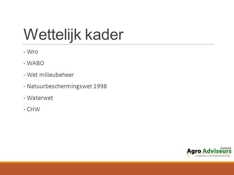 Wettelijk kader - Wro - WABO - Wet milieubeheer