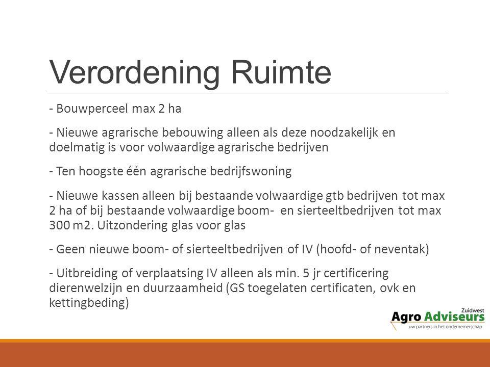 Verordening Ruimte - Bouwperceel max 2 ha