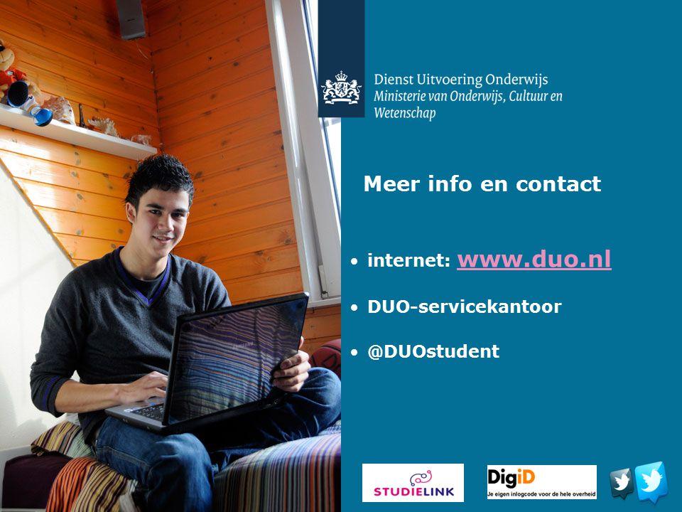 Meer info en contact internet: www.duo.nl DUO-servicekantoor