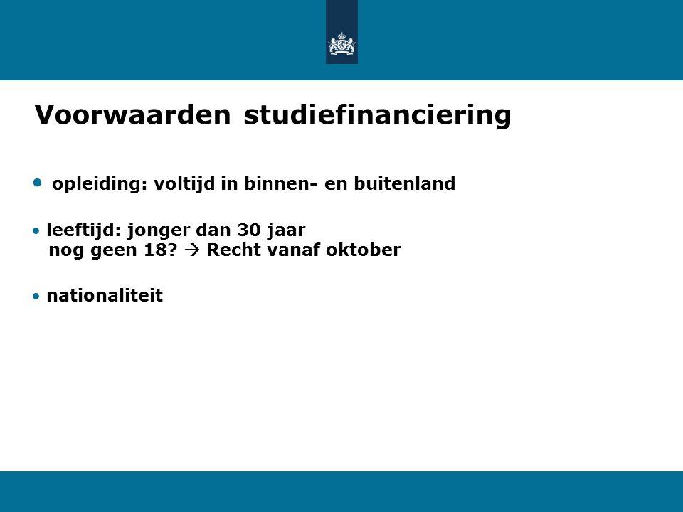 Voorwaarden studiefinanciering