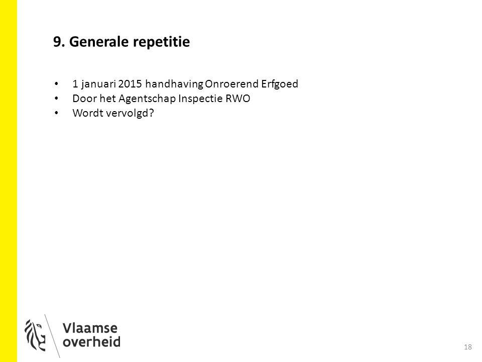 9. Generale repetitie 1 januari 2015 handhaving Onroerend Erfgoed