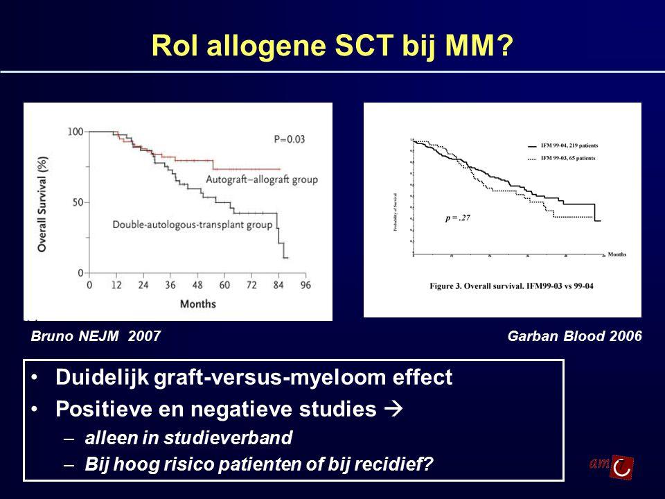 Rol allogene SCT bij MM Duidelijk graft-versus-myeloom effect