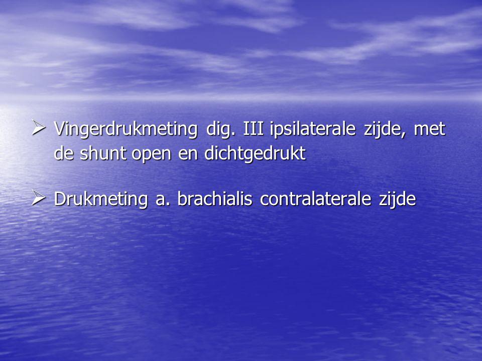 Vingerdrukmeting dig. III ipsilaterale zijde, met