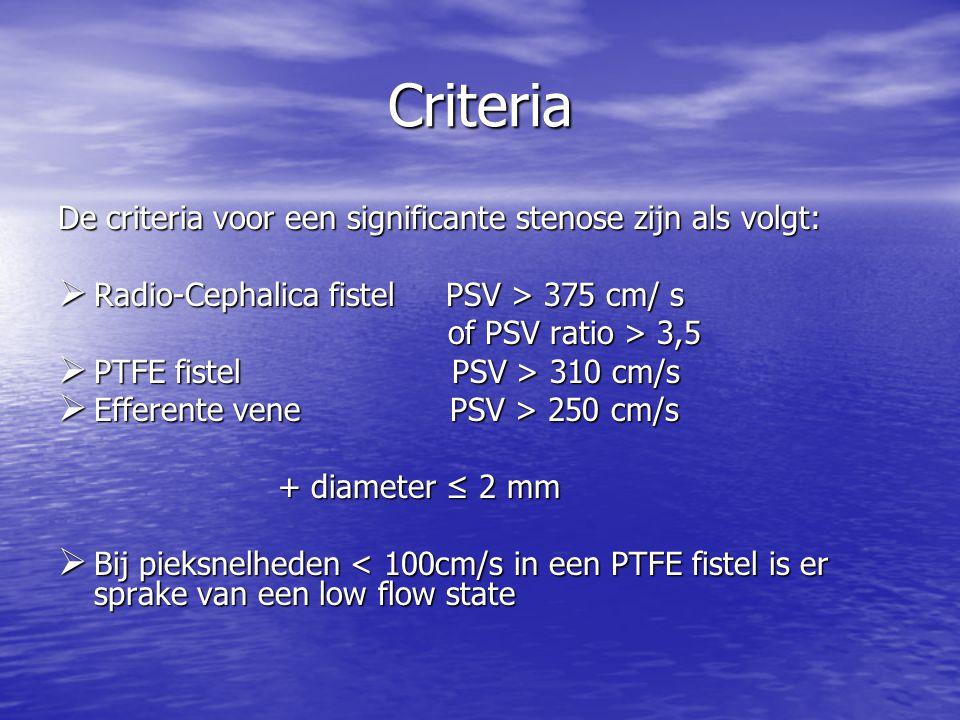 Criteria De criteria voor een significante stenose zijn als volgt: