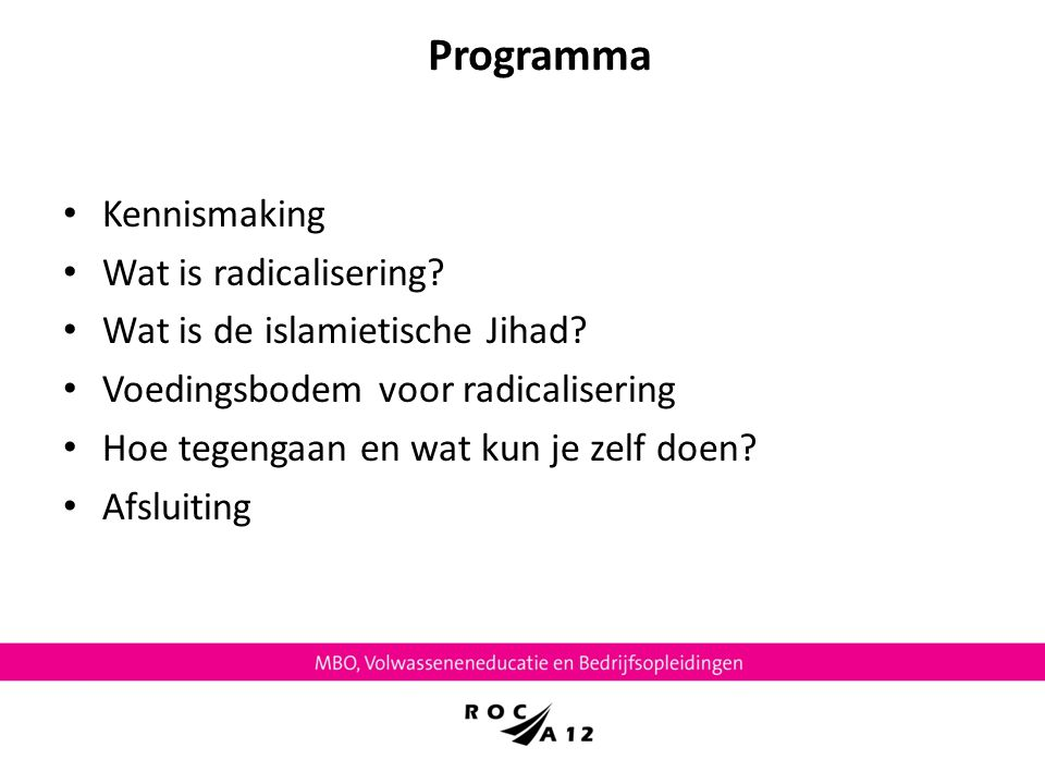 Programma Kennismaking Wat is radicalisering