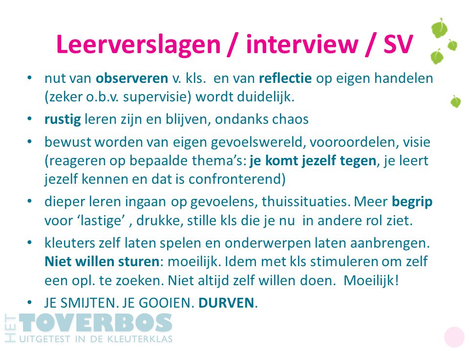 Leerverslagen / interview / SV