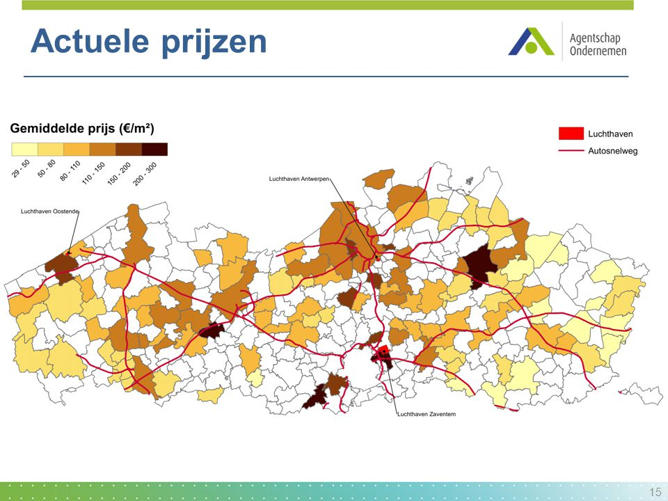 Actuele prijzen Rond de grote steden hogere gemiddelde prijs