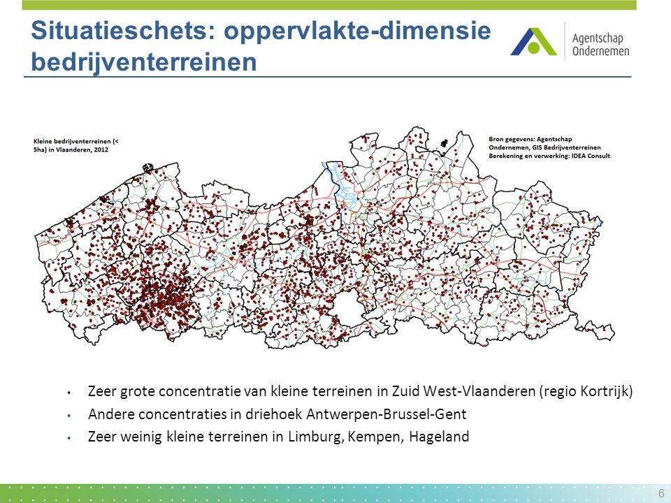 Situatieschets: oppervlakte-dimensie bedrijventerreinen