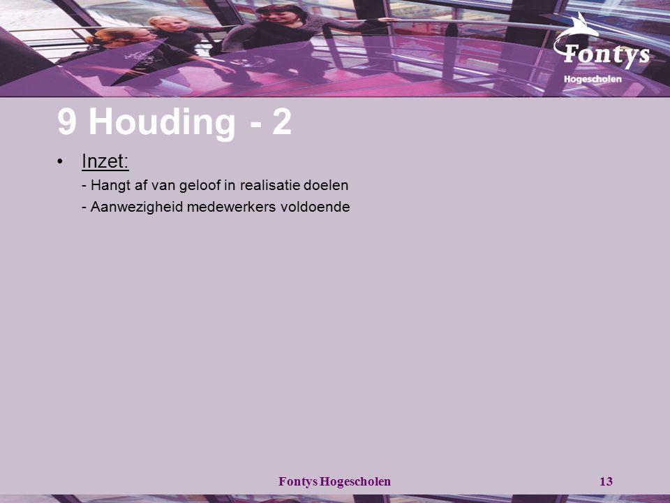 9 Houding - 2 Inzet: - Hangt af van geloof in realisatie doelen