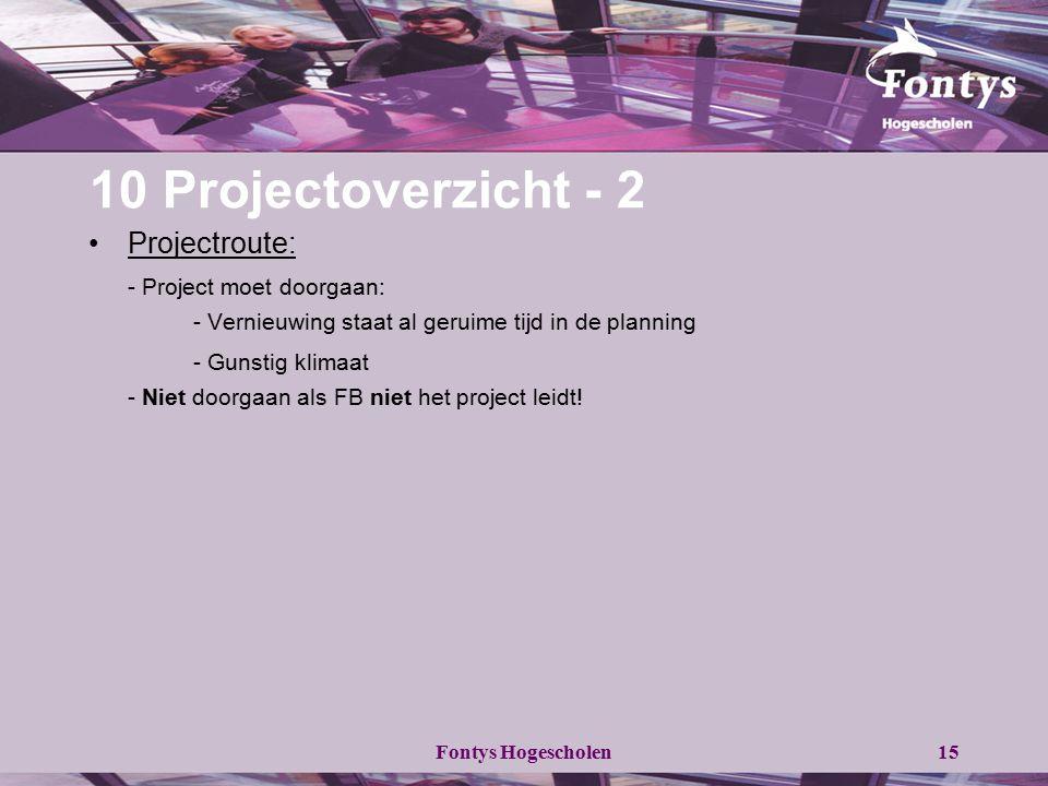 10 Projectoverzicht - 2 Projectroute: - Project moet doorgaan:
