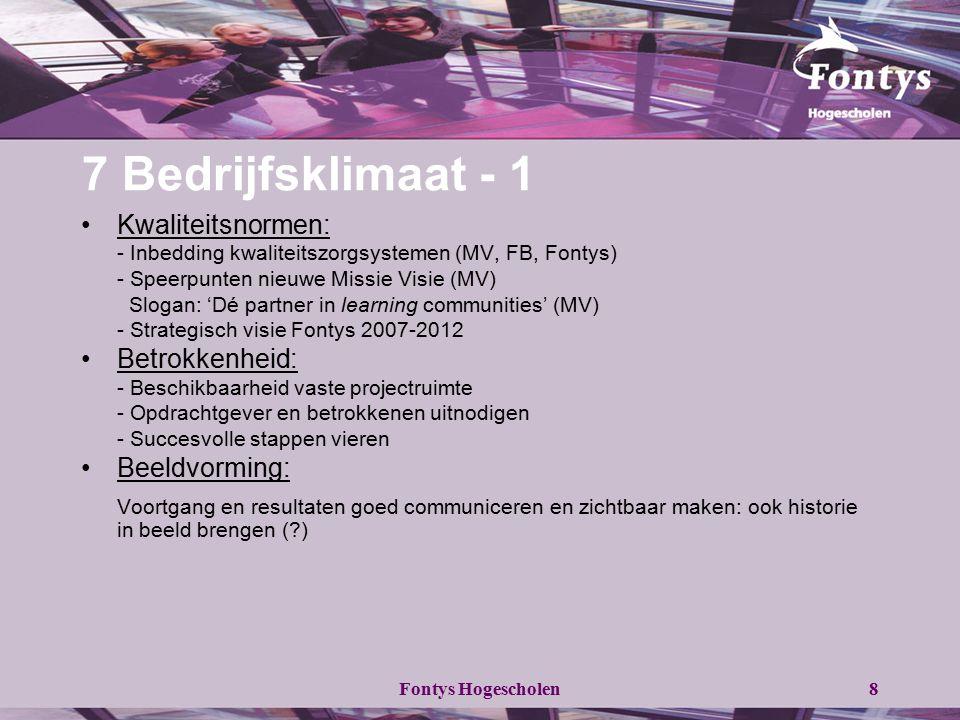 7 Bedrijfsklimaat - 1 Kwaliteitsnormen: - Inbedding kwaliteitszorgsystemen (MV, FB, Fontys) - Speerpunten nieuwe Missie Visie (MV)