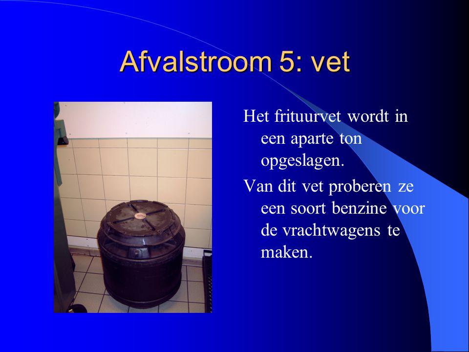 Afvalstroom 5: vet Het frituurvet wordt in een aparte ton opgeslagen.