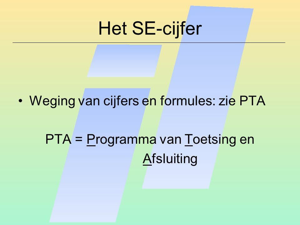 PTA = Programma van Toetsing en