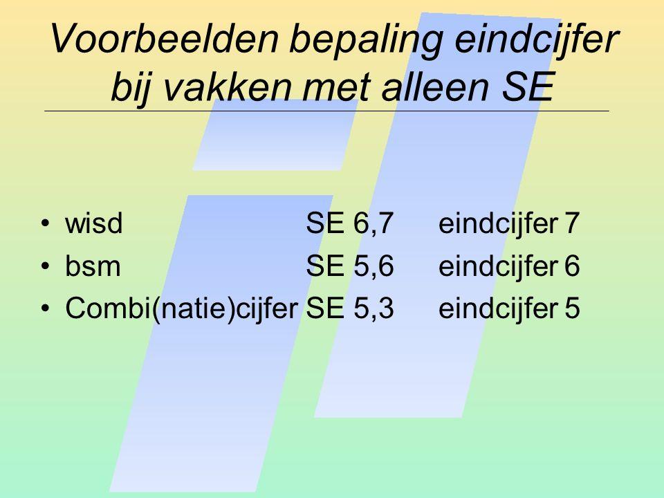 Voorbeelden bepaling eindcijfer bij vakken met alleen SE