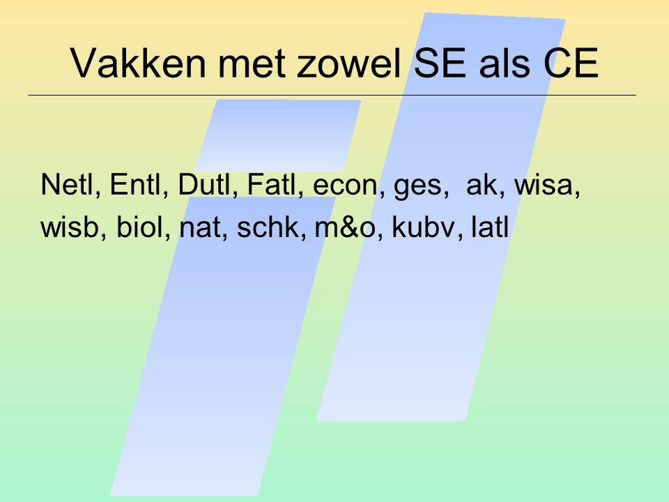 Vakken met zowel SE als CE