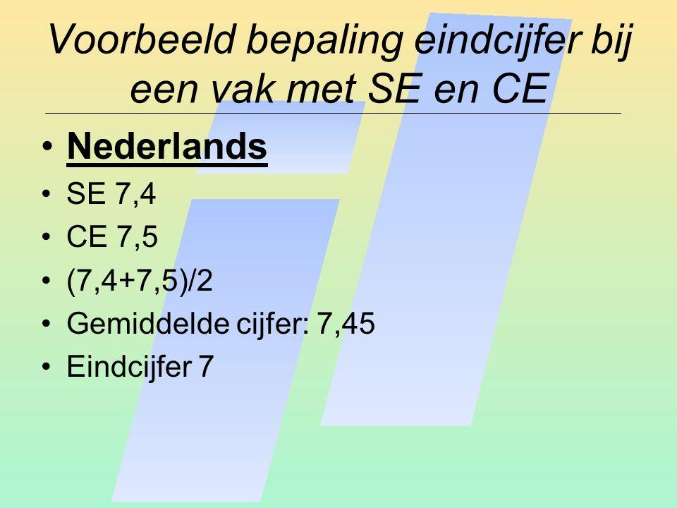 Voorbeeld bepaling eindcijfer bij een vak met SE en CE