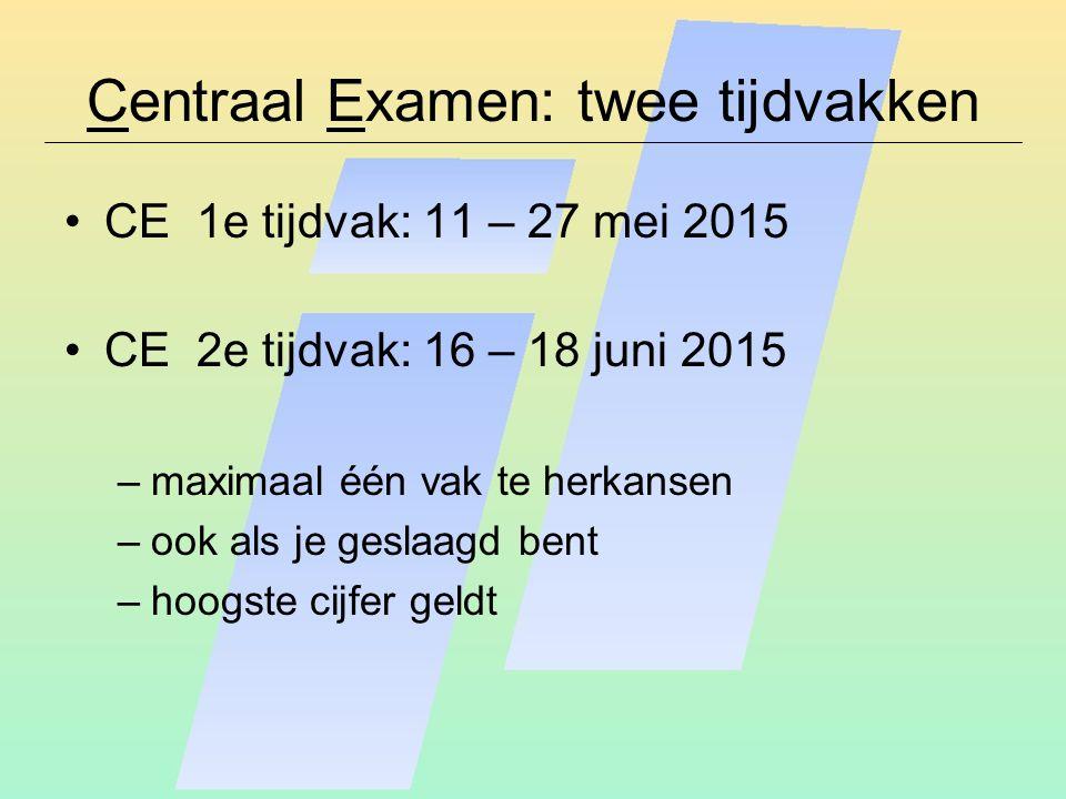 Centraal Examen: twee tijdvakken
