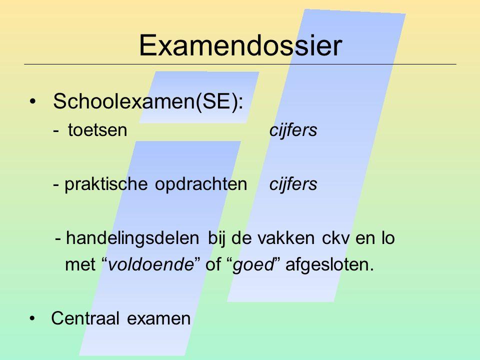Examendossier Schoolexamen(SE): toetsen cijfers
