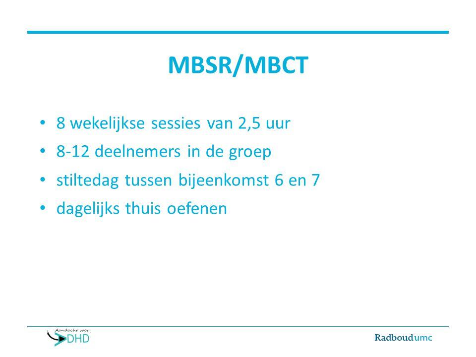 MBSR/MBCT 8 wekelijkse sessies van 2,5 uur 8-12 deelnemers in de groep