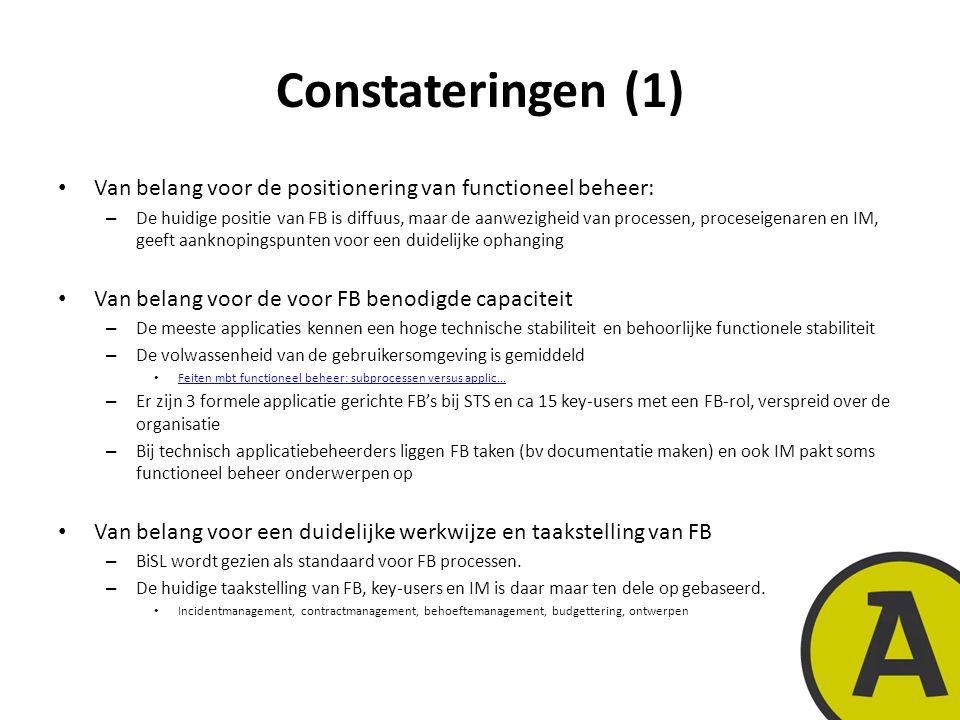 Constateringen (1) Van belang voor de positionering van functioneel beheer: