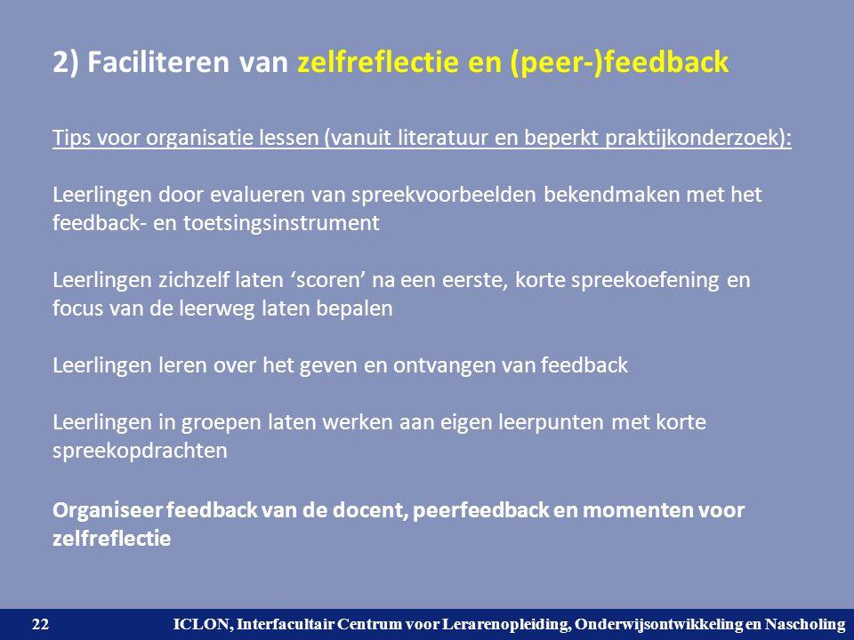 2) Faciliteren van zelfreflectie en (peer-)feedback