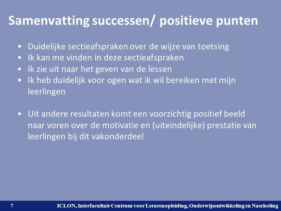 Samenvatting successen/ positieve punten