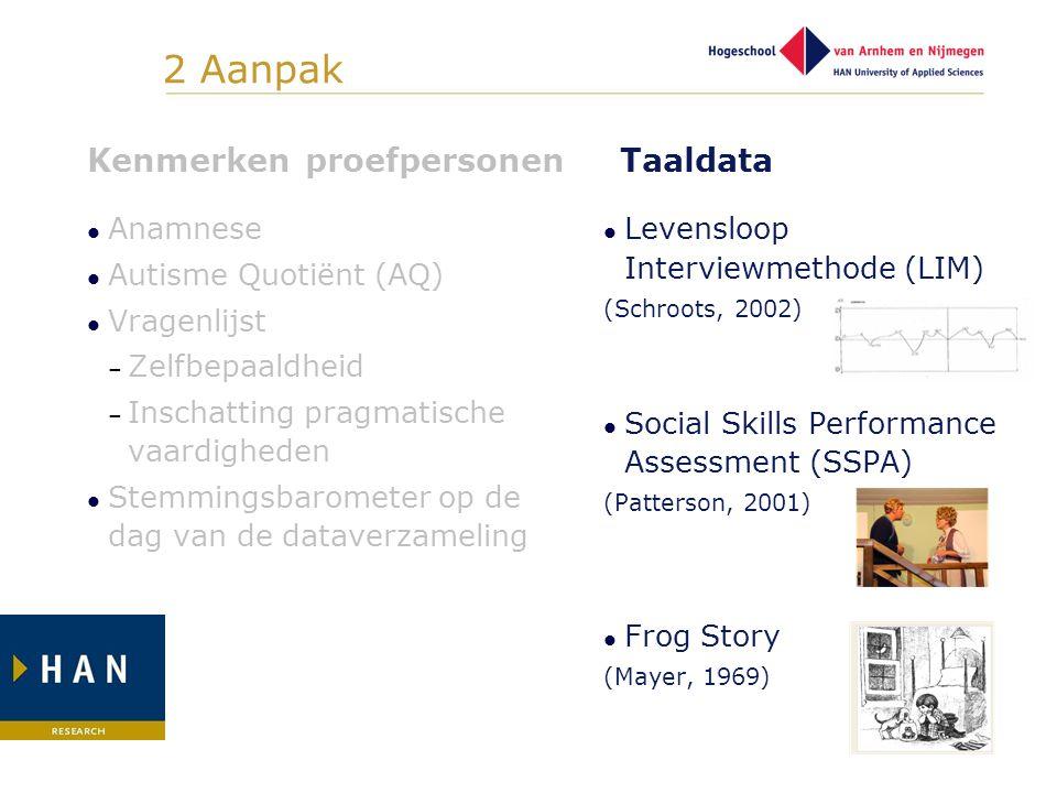 2 Aanpak Kenmerken proefpersonen Taaldata Anamnese