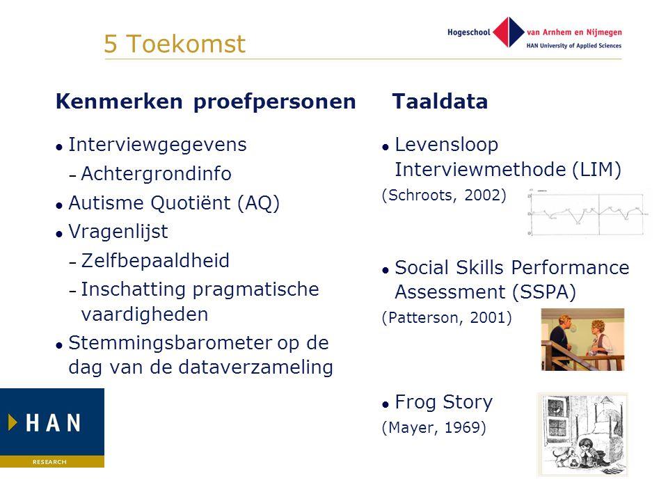 5 Toekomst Kenmerken proefpersonen Taaldata Interviewgegevens