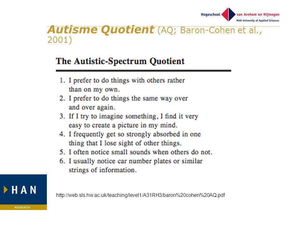 Autisme Quotient (AQ; Baron-Cohen et al., 2001)