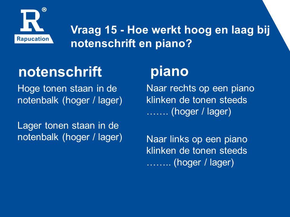 Vraag 15 - Hoe werkt hoog en laag bij notenschrift en piano