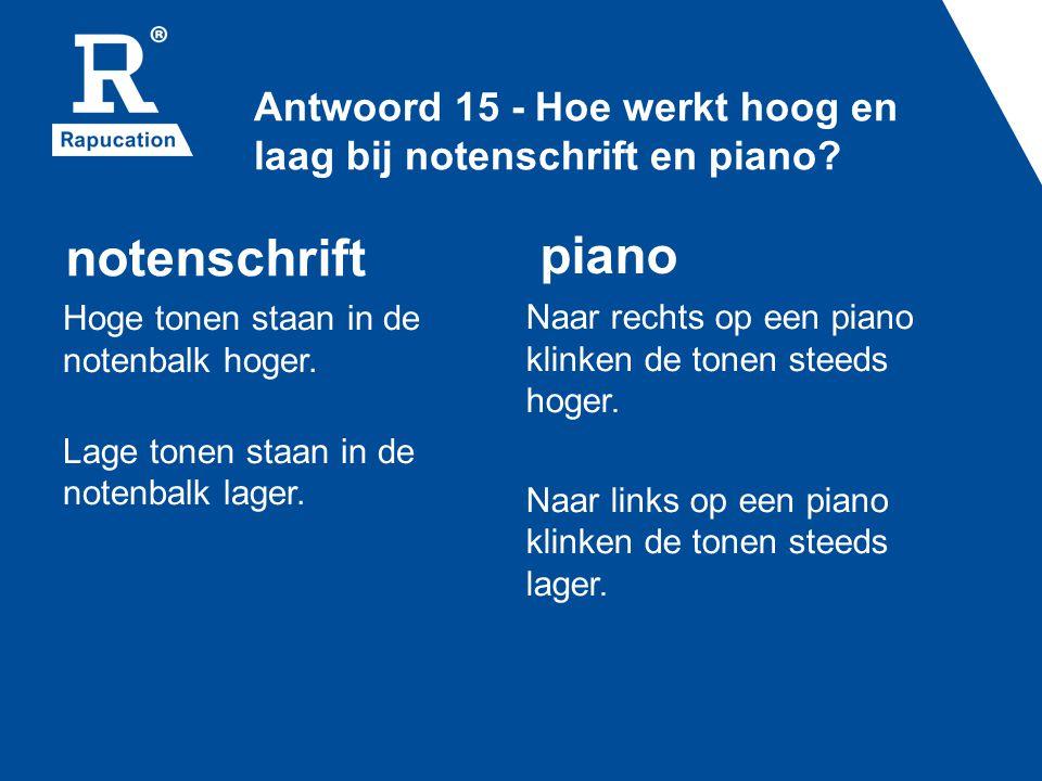 Antwoord 15 - Hoe werkt hoog en laag bij notenschrift en piano
