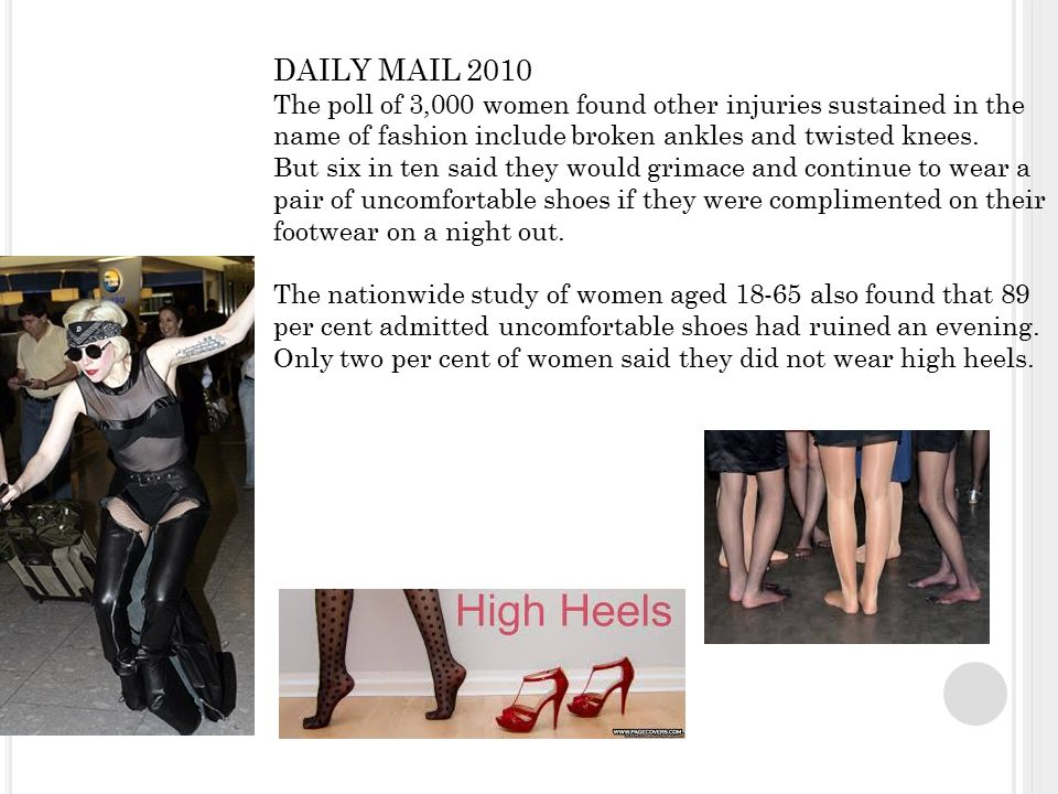 DAILY MAIL 2010 The poll of 3,000 women found other injuries sustained in the name of fashion include broken ankles and twisted knees.